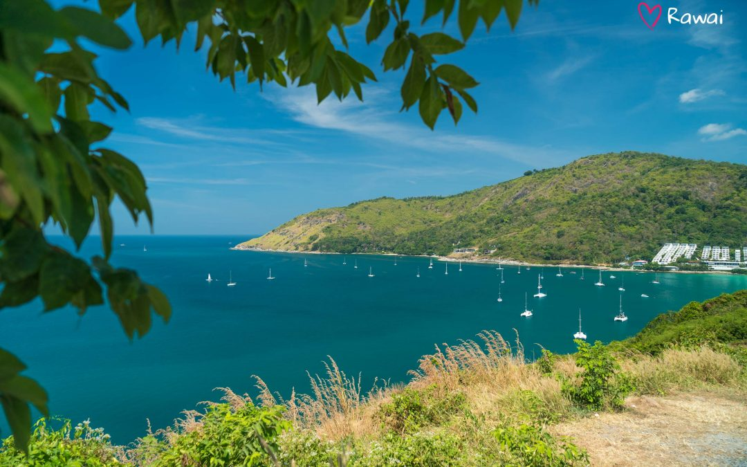 Windmill viewpoint on Nai Harn — overview of two beaches